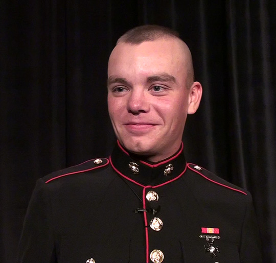 Nathan Moyer, U.S. Marine, visits 2013 Beaver Island Lighthouse School Graduation
