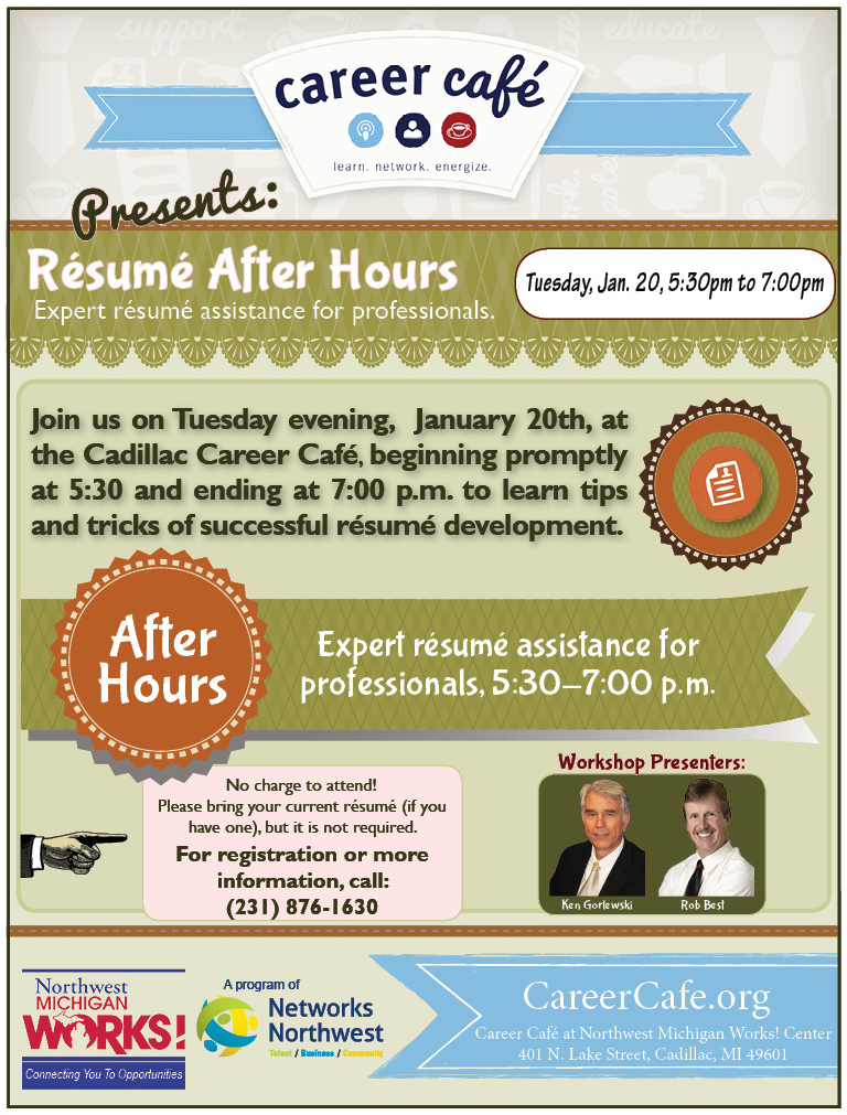 résumé after hours at michigan works in cadillac